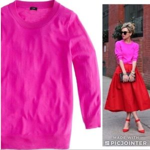 J Crew Tippi Sweater Hot Neon Pink Merino Wool XL